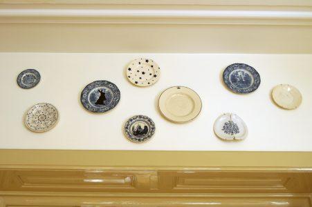 Vintage borden met silhouet illustratie
