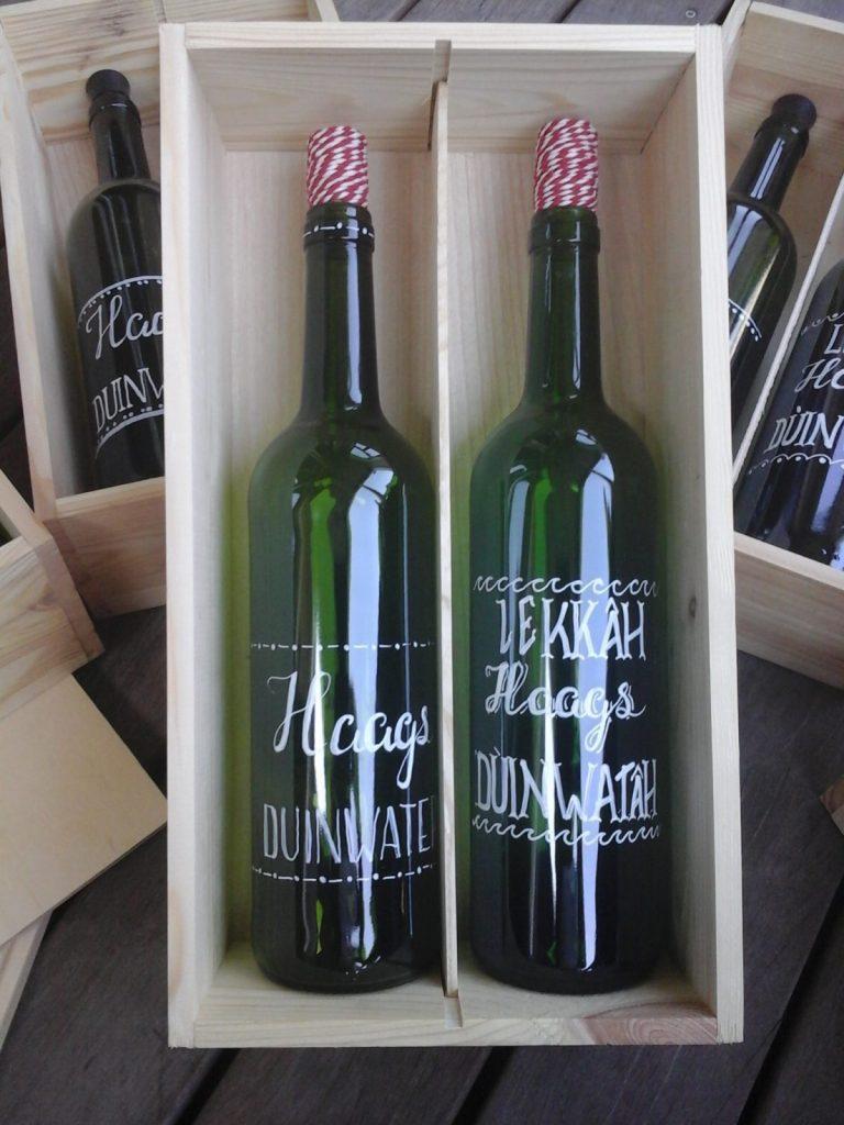 Upcycling wijnflessen in wijnkistje